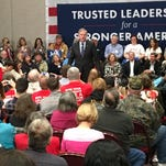 Jeb Bush addresses voters at the Anderson Civic Center