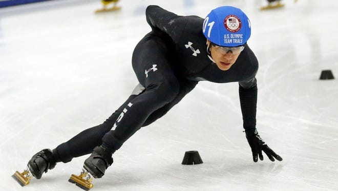 FILE - In this Dec. 15, 2017, file photo, J.R. Celski competes in the men's 1,500-meters during the U.S. Olympic short track speedskating trials in Kearns, Utah. Celski is headed to his third games as the Zen-like presence on the U.S. team in the calamitous sport of short track.  (AP Photo/Rick Bowmer, File)