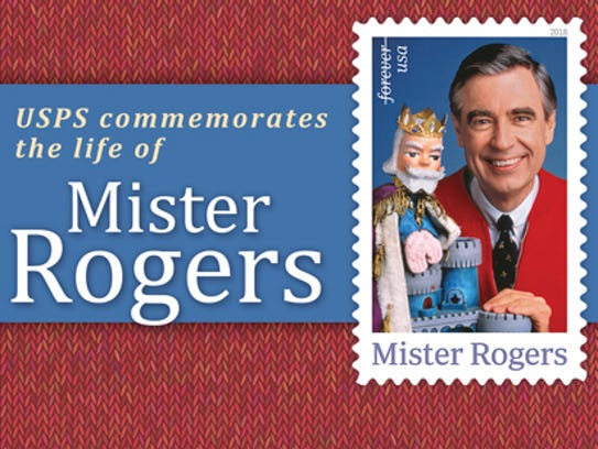 The Mister Rogers Forever stamp issued by the U.S. Postal Service March 23, 2018.