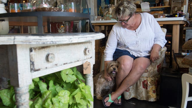 """""""I can't imagine not bringing him with me,"""" said Kitt Tufts on Wednesday about her dog, Leo, who comes to work with her every day at her vintage home decor shop, Hifalutin Chic, in Stuart. Leo, an 11-year-old Shorkie, is friends with the regulars, is often the first one to the door to greet customers and helps out as a security guard at the shop, taking his role """"very seriously,"""" Tufts said."""