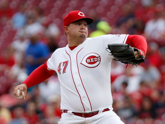 Aug 14, 2018; Cincinnati, OH, USA; Cincinnati Reds starting pitcher Sal Romano (47) throws against the Cleveland Indians during the first inning at Great American Ball Park. Mandatory Credit: David Kohl-USA TODAY Sports