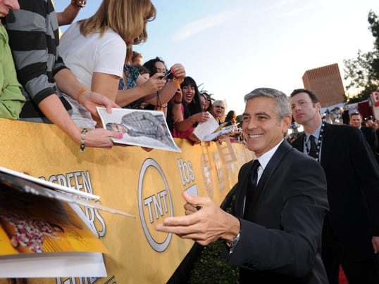 George Clooney at SAG bleachers