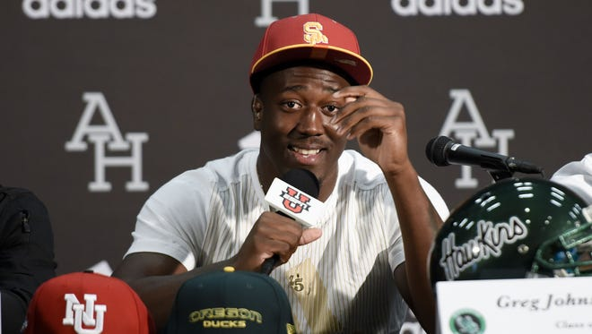 Greg Johnson of Hawkins in Los Angeles announces he will sign with USC.