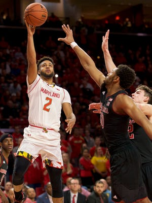 Maryland Terrapins guard Melo Trimble (2) has improved noticeably on both 2-point and 3-point shooting since last season.