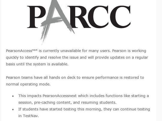 Pearson sent an email to school districts Wednesday morning regarding the outage.