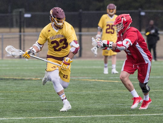 Salisbury University's John Wheeler (23) moves the