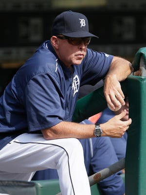 Hitting coach Wally Joyner of the Detroit Tigers watches from the dugout against the Minnesota Twins at Comerica Park on Sept. 15, 2016.