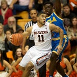 Oregon State guard Malcolm Duvivier, pictured here against UCLA last month, scored 11 points in Thursday's win at Stanford.