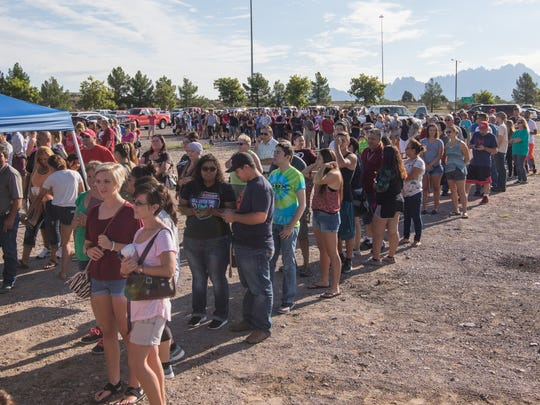 The lines were long as incoming NMSU students waited their turn to check in to their dorm assignments at NMSU Move-In Day held on Sunday.