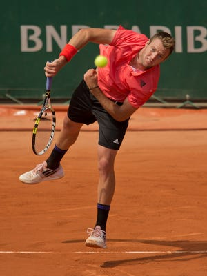 Jack Sock (USA) in action during his match against Borna Coric (CRO) at Roland Garros on May 31, 2015.