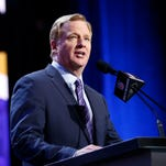 NFL Commissioner Roger Goodell announces the draft picks in the first round of the 2016 NFL Draft at Auditorium Theatre.