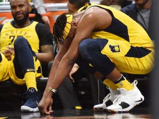 Apr 29, 2018; Cleveland, OH, USA; Indiana Pacers center