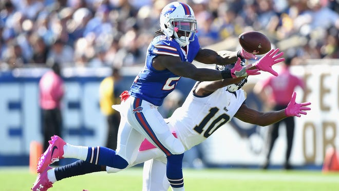 Bills cornerback Nickell Robey-Coleman makes an interception in front of the Rams' Pharoh Cooper that was returned 41 yards for a touchdown, giving the Bills a 23-16 lead in the third quarter in Los Angeles on Sunday.