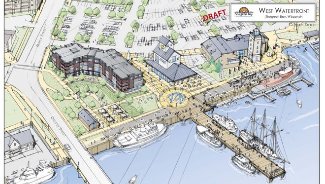 Drawing of the original waterfront redevelopment project. Papke's hotel was the L-shaped dark building. The city has created an ad-hoc committee to develop a new plan for the waterfront, which includes ideas and feedback from the community.