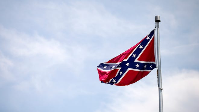The Confederate flag was displayed at the White Lives Matter demonstration.