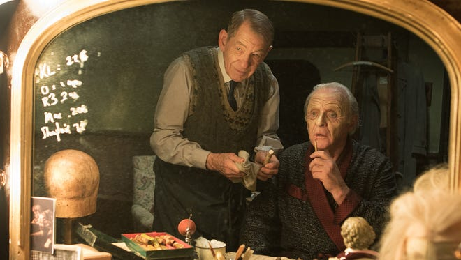 Ian McKellen, left, and Anthony Hopkins are members of a theater troupe in the Starz film, 'The Dresser.'