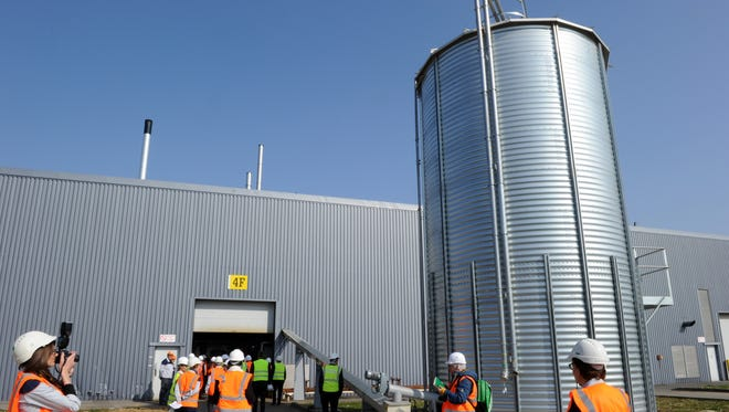 A grain silo for the new industrial-strength biomass boiler installed at the Onnaing Toyota factory, in the north of France.