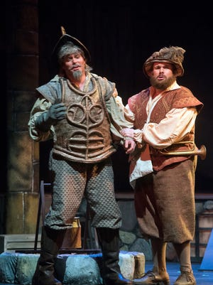 """Corey McKern left, and Orin Strunk fine-tunes their roles as """"Don Quixote"""" and """"Sancho"""" during dress rehearsals Wednesday, March 14, 2018, for the upcoming Pensacola Opera's production of """"Man of La Mancha."""" The show opens Friday, March 16, 2018, at the Saenger Theatre."""