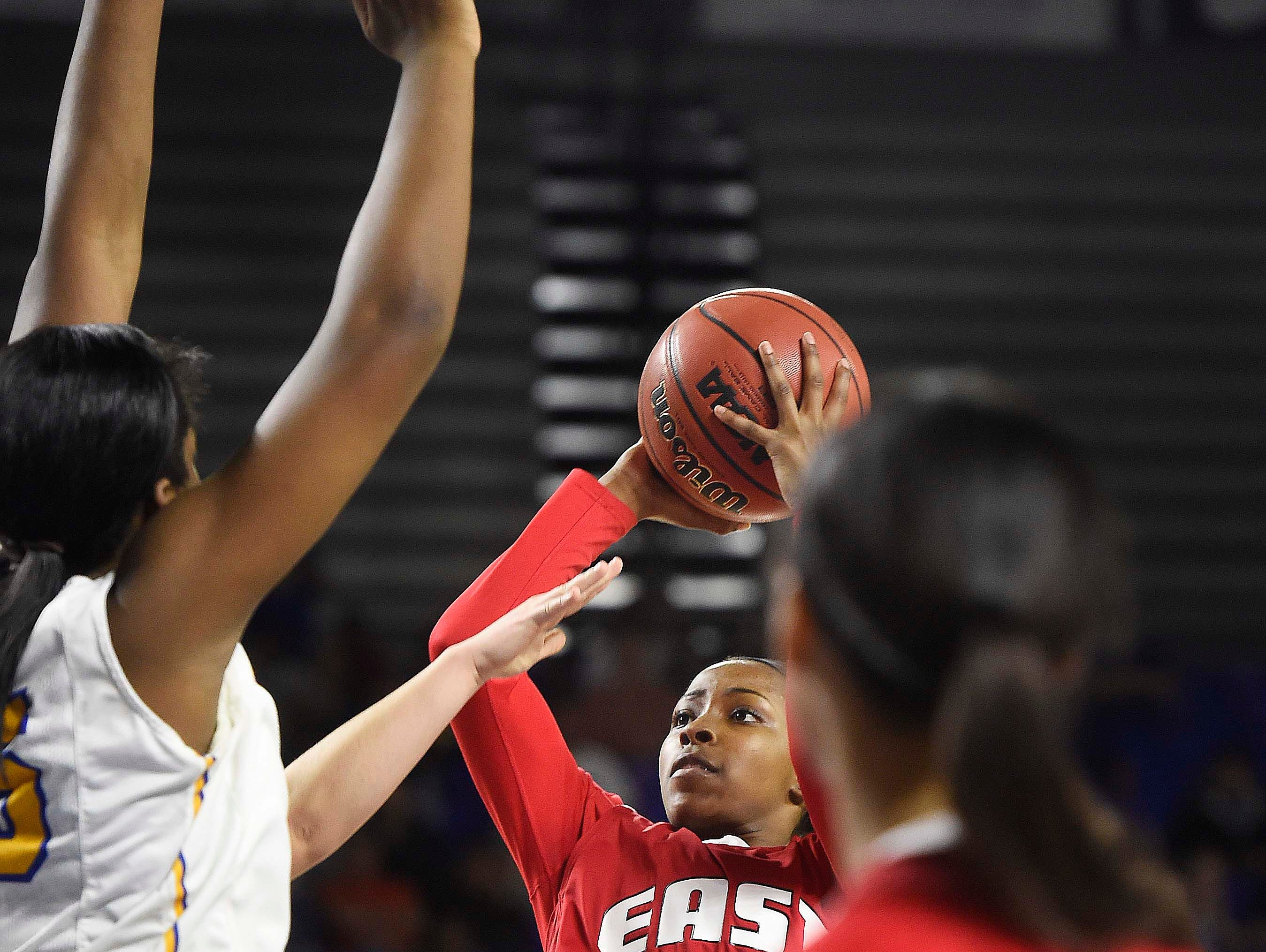 East's Erica Haynes-Overton (20) shoots in the lane as East Nashville wins over Westview High School 35-32 in the Division I Class AA Girl's basketball semi-finals at the Murphy Center on MTSU's campus March 11, 2016 in Murfreesboro, Tenn.