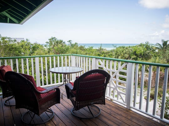 The deck of the 5,268 square foot beach front home at Keewaydin Island over looks the Gulf on Thursday, June 7, 2018.
