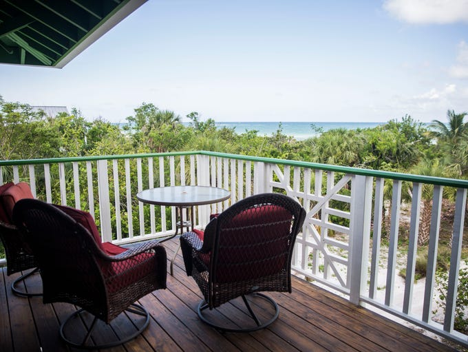 The deck of the 5,268 square foot beach front home