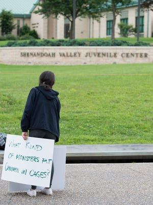 "Scenes from the ""Stop Torturing Children"" rally at the Shenandoah Valley Juvenile Center in Verona, Va., Sunday morning, June 24, 2018. About 300 people took part in the event sponsored by the SAW Citizen Action Network."