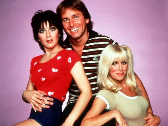 "The cast of the 1970s sitcom, ""Three's Company,"" from left, Joyce DeWitt, John Ritter and Suzanne Somers."