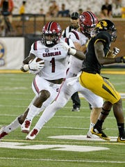 Sep 9, 2017; Columbia, MO, USA; South Carolina Gamecocks wide receiver Deebo Samuel (1) runs the ball during the second half against the Missouri Tigers at Faurot Field. Mandatory Credit: Denny Medley-USA TODAY Sports