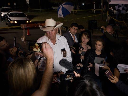 Wilson County Sheriff Joe Tackett speaks to the media