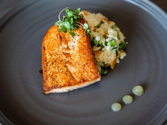 The pan-seared salmon dish at 1500 South Restaurant