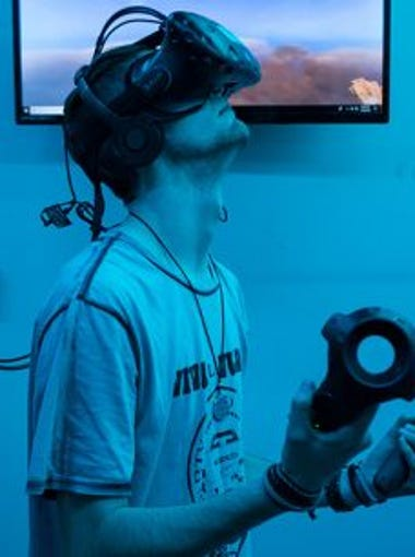 Jack Fortin, who played Skyfront for 10 minutes during his first time at VR Junkies, liked it so much that he came back later that night for an hour.