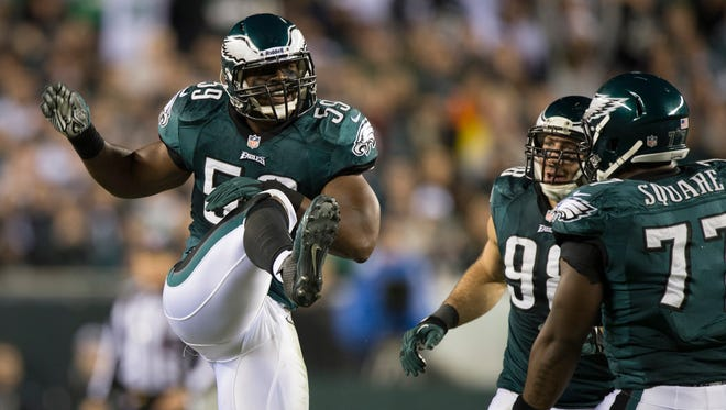 Philadelphia Eagles inside linebacker DeMeco Ryans (59) celebrates after breaking up a pass  during the third quarter  at Lincoln Financial Field.