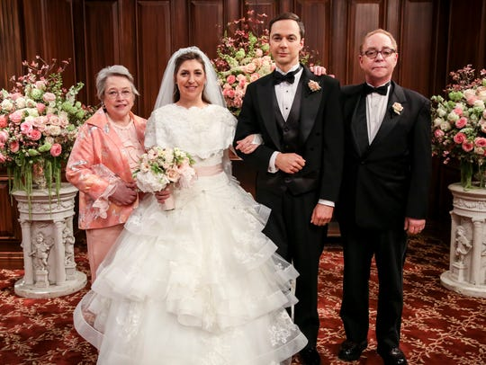 Mrs. Fowler (Kathy Bates), left, Amy Farrah Fowler (Mayim Bialik), Sheldon Cooper (Jim Parsons) and Mr. Fowler (Teller) pose on the 'Shamy' wedding on 'The Mountainous Bang Thought' Season eleven finale.