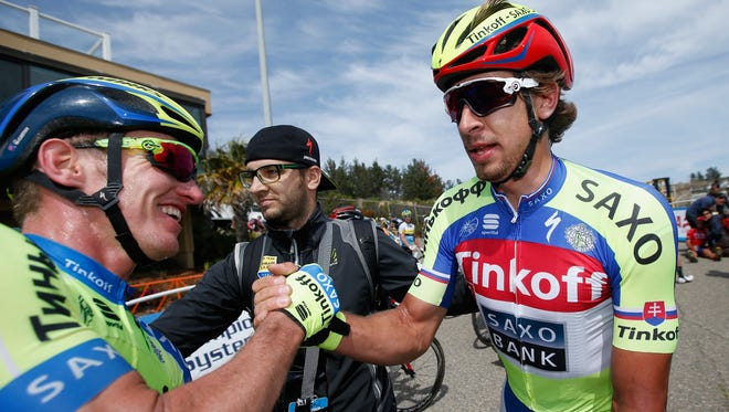 Peter Sagan (R) celebrates his victory with Jay McCarthy in stage four of the Amgen Tour of California.