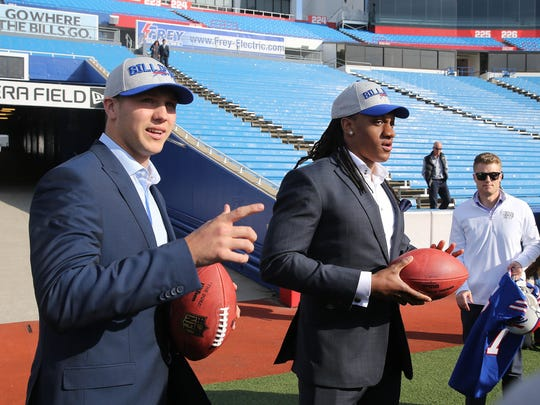 Bills first round draft picks Josh Allen and Tremaine Edmunds tour the stadium after meeting with the media.
