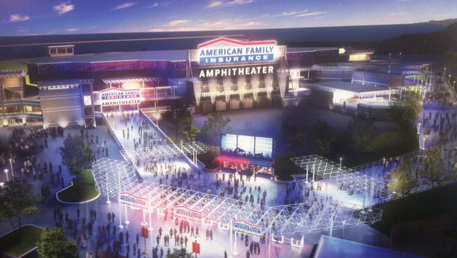 A preliminary rendering of a new American Family Insurance Amphitheater, revealed by Summerfest officials in January 2017. Fest officials announced Wednesday that Eppstein Uhen Architects will design the 23,000-capacity venue, budgeted between $30 to $35 million, with more detailed and accurate renderings forthcoming.