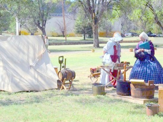 The DAR members also enjoyed seeing an reenactment while they were at the fort.