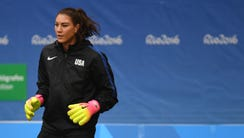 United States goalkeeper Hope Solo (1) warms up for