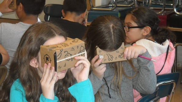 The Google Cardboard system allows students to view
