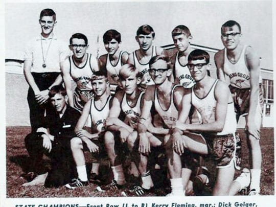 The Spring Grove cross country team won the league, district and state championships in 1966, the second year of the program's existence. The team is pictured here in a PH Glatfelter employee newsletter from the 1960s.