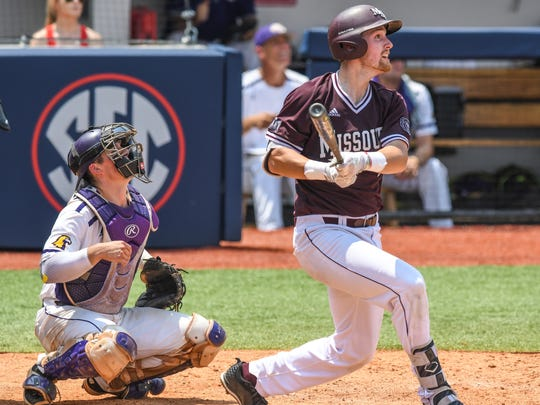 Missouri State infielder Ben Whetstone (45) drives