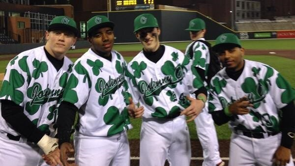 Overton's uniform's on St. Patrick's Day.