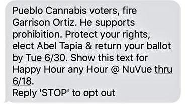 This text message is being looked at as a possible election/campaign violation.