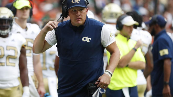 Georgia Tech head coach Geoff Collins, shown on Oct. 19, 2019, has the Yellow Jackets at 1-0 going into Saturday's home game against No. 14 Central Florida.