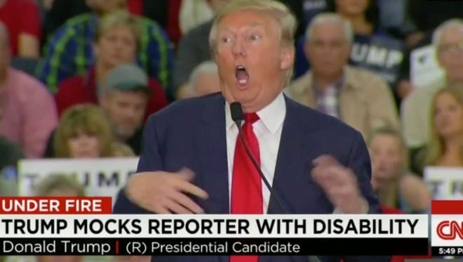 Trump mocks a reporter's disability during the campaign.