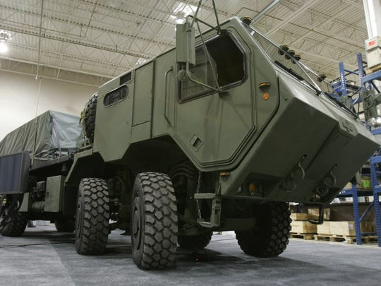 The HEMTT A-3 truck is a diesel-electric hybrid made for the military by Oshkosh Corp.