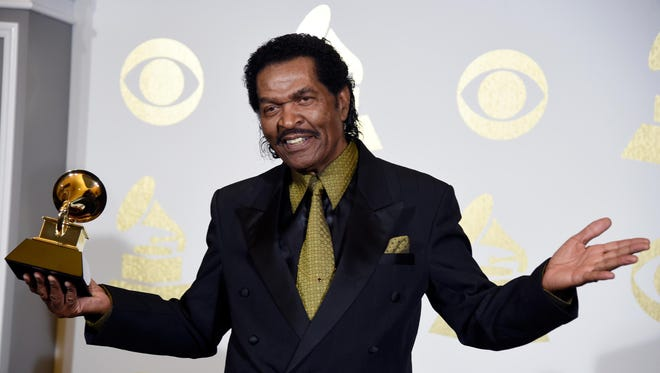 Mississippi bluesman Bobby Rush , seen here after winning his first Grammy in 2017 for Best Traditional Blues Album, repeated in that category, winning another trophy during Sunday's virtural Grammy ceremonies.