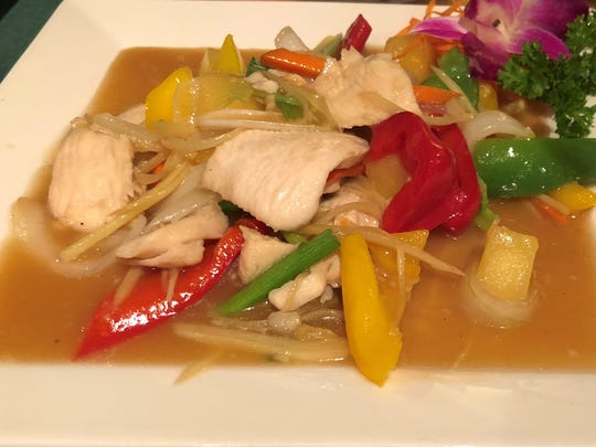 The ginger chicken at Thai Sushi by KJ on Collier Boulevard, Marco Island.