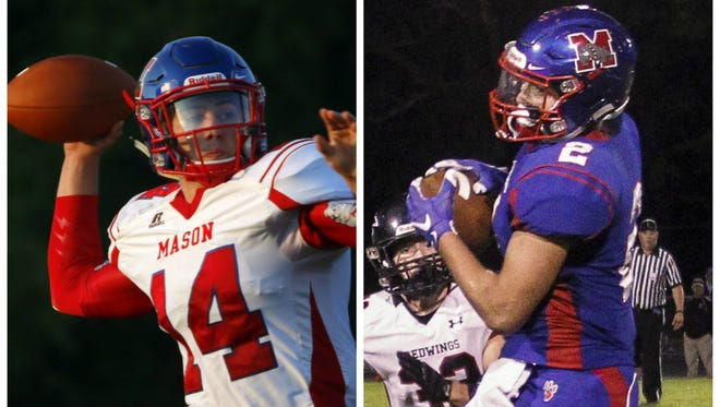 Seniors Jarrett VanHavel (14) and Nick Vondra have spearheaded Mason's evolving passing attack. Both recently set school career passing and receiving records.