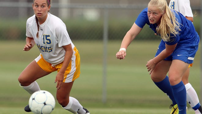 Alyssa Brazil #15 from South Dakota State looks to push the ball past Ylenia Sachau #3 from Creighton in a game in 2014.